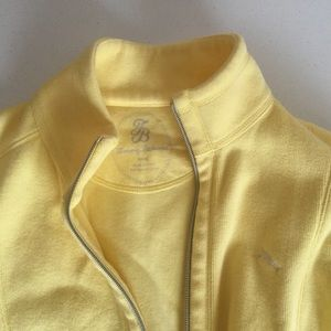 Bright yellow zip-up cardigan